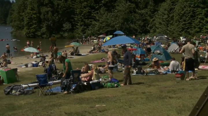 Metro Vancouverites try and beat the heat at Belcarra Regional Park on July 27, 2020.