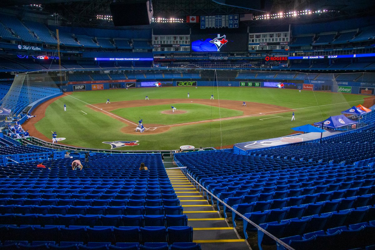 The Toronto Blue Jays played a MLB intrasquad baseball game in Toronto on Friday, July 10, 2020.