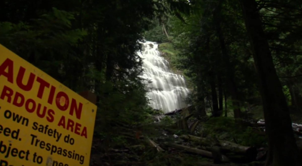 A child survived a terrifying fall at Bridal Veils Provincial Park near Chilliwack on Saturday.