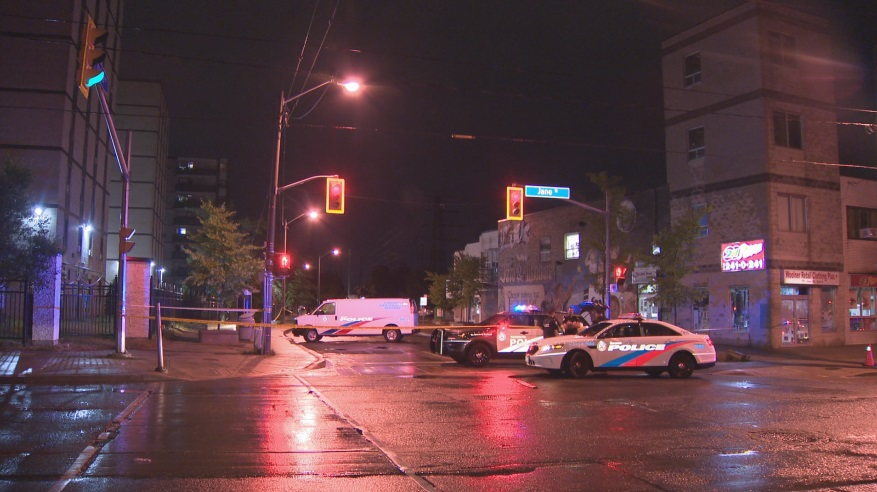 The shooting happened near Jane Street and Woolner Avenue at around 10:20 p.m. on Friday.