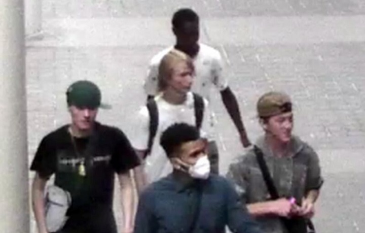 Police released a photo on Tuesday of five suspects wanted in a stabbing investigation.