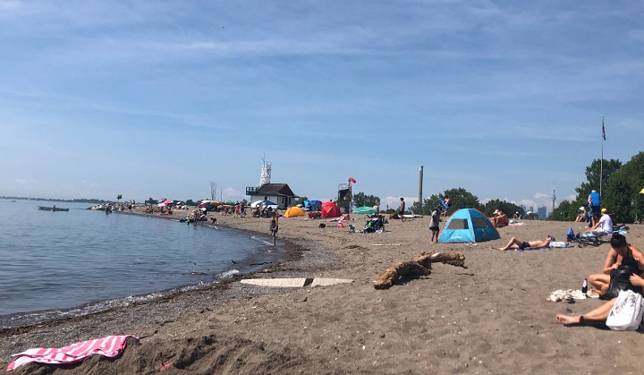 Swimmers at Woodbine Beach were warned against swimming on Saturday.