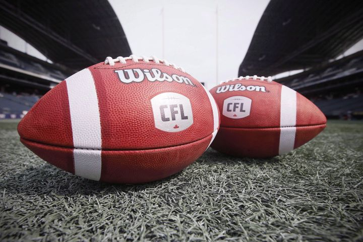 Footballs from the Canadian Football League are photographed at the Winnipeg Blue Bombers stadium in Winnipeg, Thursday, May 24, 2018.