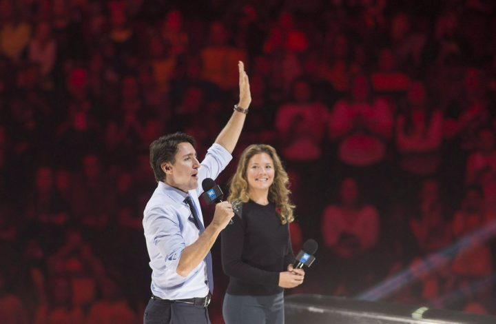 Prime Minister Justin Trudeau and his wife Sophie Grégoire Trudeau appear at the WE Day celebrations in Ottawa, Nov. 10, 2015.