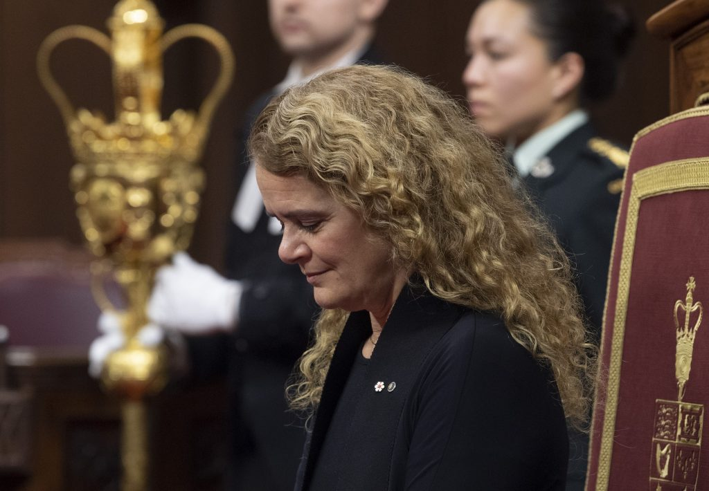 Governor General Julie Payette nods giving royal assent of a government bill during a ceremony in the Senate chamber in Ottawa, Thursday, Dec. 12, 2019.