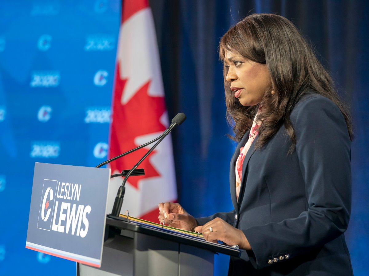 Conservative Party of Canada leadership candidate Leslyn Lewis makes her opening statement at the start of the French leadership debate in Toronto on Wednesday, June 17, 2020.