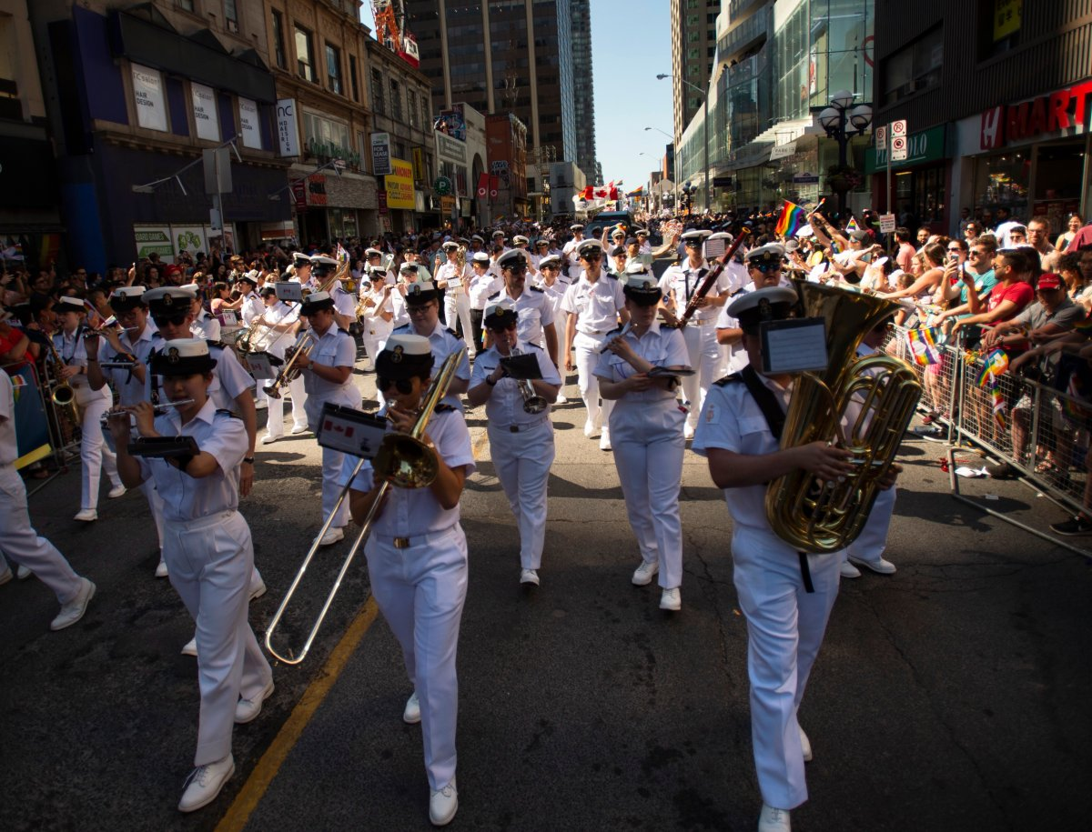 "The Royal Canadian Navy is looking to chart new waters by dropping the term ""seaman"" when referring to its most junior sailors and replacing it with something more gender-neutral. Members of the Royal Canadian Navy take part in the 2019 Pride Parade in Toronto, Saturday, June 23, 2019."