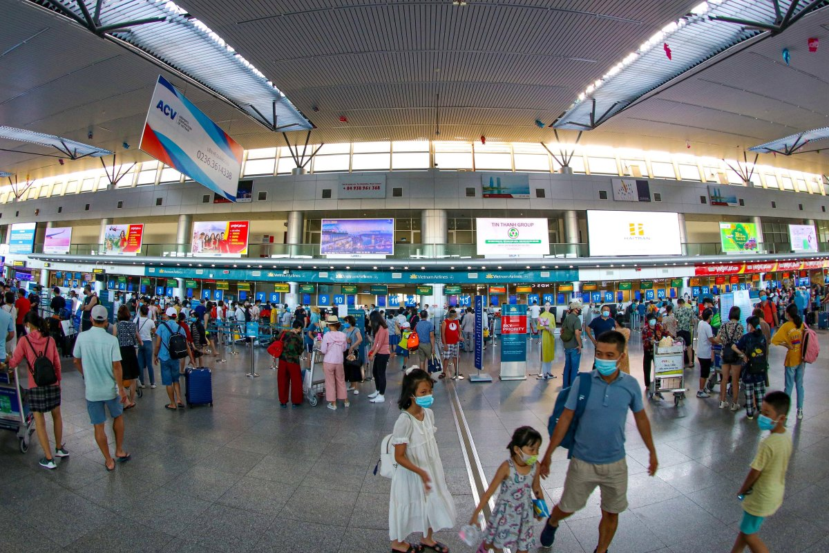 People wearing face masks at Da Nang international airport in Da Nang, Vietnam, on July 27 2020.