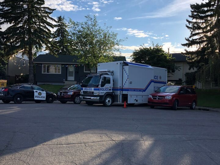 The Calgary Police Service's forensic unit remains on scene at a home in a northeast Calgary community.