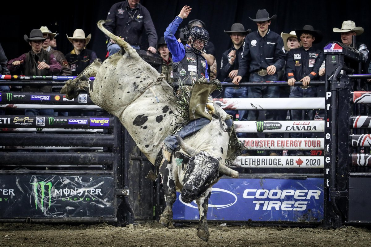 Saskatchewan's Dakota Buttar rode Tykro Pound Sand during his last bull-riding competition before the onset of COVID-19.