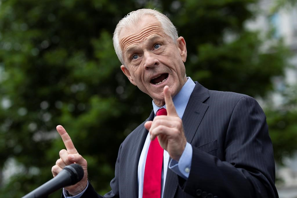 White House trade adviser Peter Navarro speaks with reporters at the White House, Thursday, June 18, 2020, in Washington.