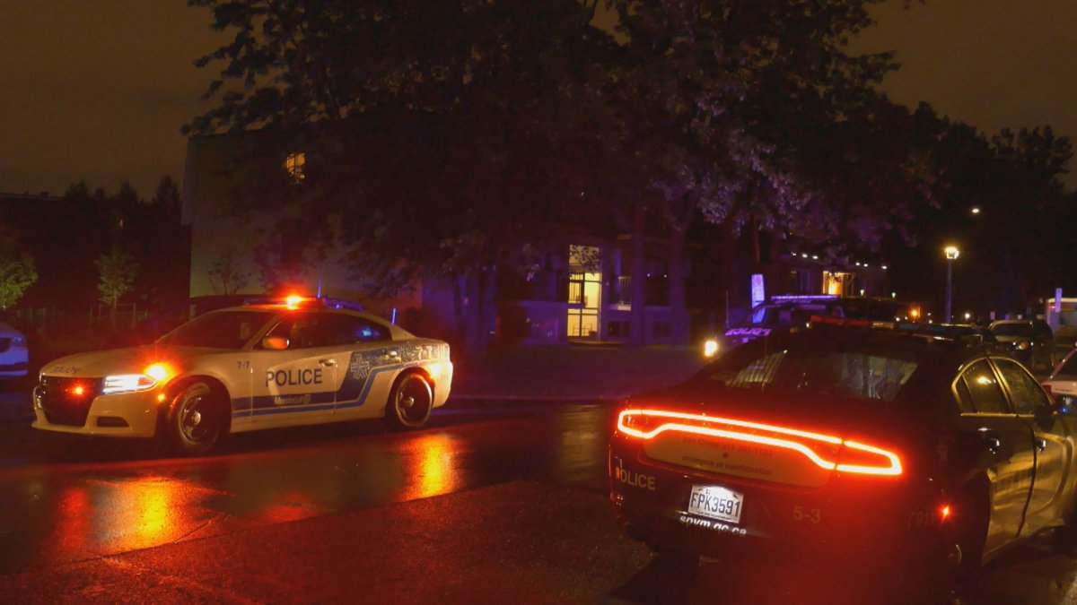 Montreal police respond to a shooting in Dollard-des-Ormeaux the night of Wednesday, July 29, 2020.