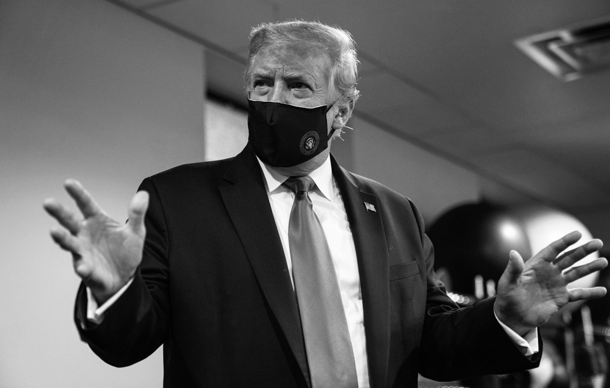 """Trump tweeted a photo of himself on Monday, saying it is """"patriotic"""" to wear a mask amid the coronavirus pandemic."""