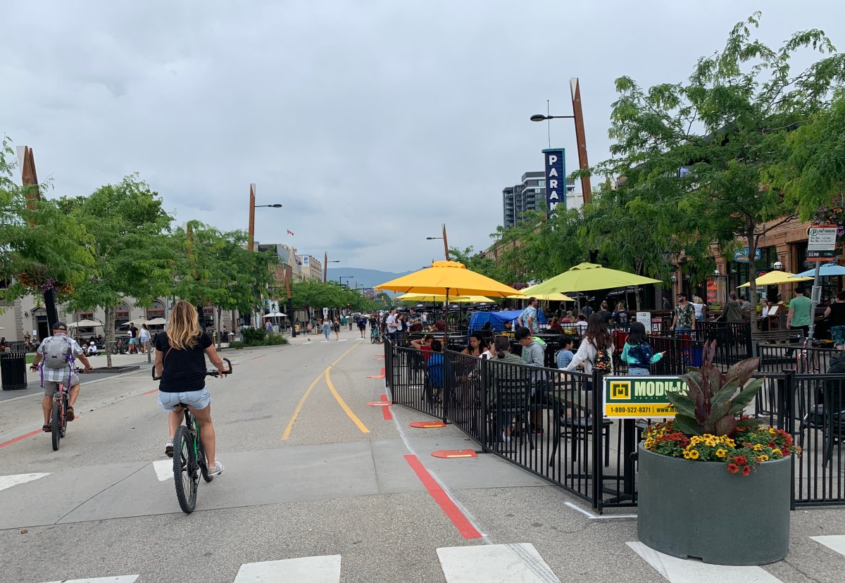 Downtown Kelowna looked busy Friday afternoon, resembling a typical summer day as locals and tourists give businesses a much-needed boost.