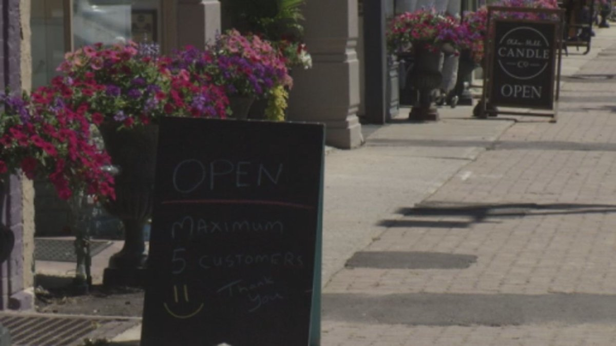 Stores open for business with coronavirus pandemic-related restrictions in downtown Lindsay, Ont.