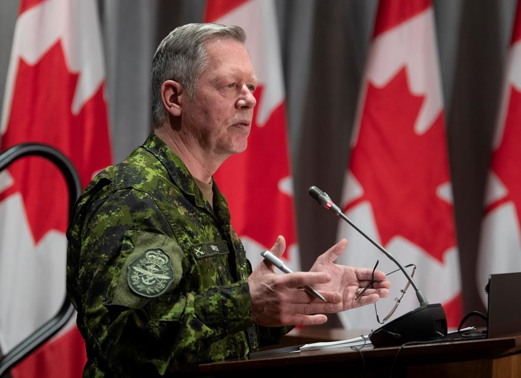 Chief of Defence Staff Jonathan Vance responds to a question during a news conference Thursday May 7, 2020 in Ottawa. Vance, Canada's top soldier, says he's retiring.
