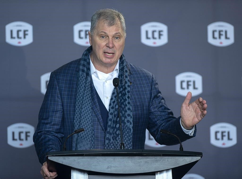 CFL commissioner Randy Ambrosie speaks at a news conference in Halifax on Thursday, Jan. 23, 2020. The CFL sent federal Canadian Heritage Minister Steven Guilbeault a revised revised financial request Friday.