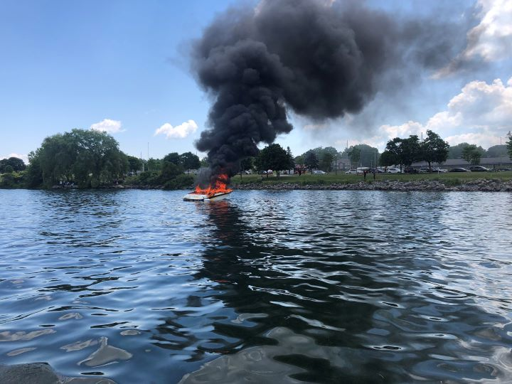 Several people were rescued after a boat caught fire in Barrie, Ont., on Canada Day.