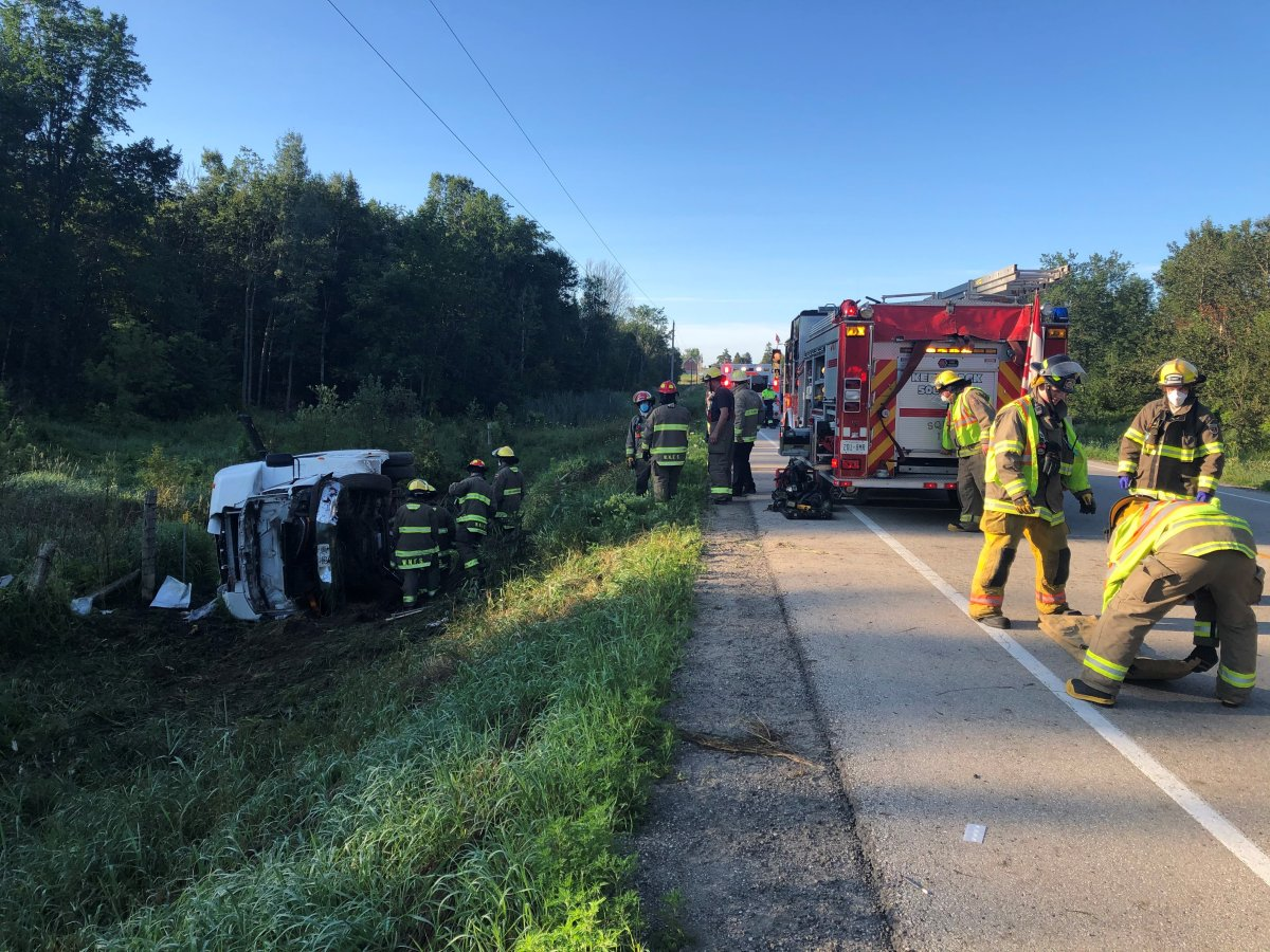 Eight people were sent to hospital following a bus rollover on Thursday morning.