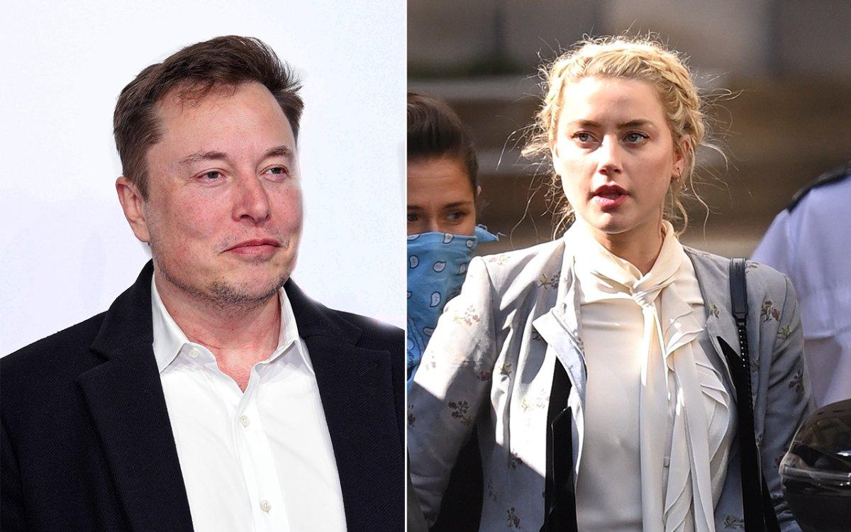 (L-R): Elon Musk and Amber Heard.