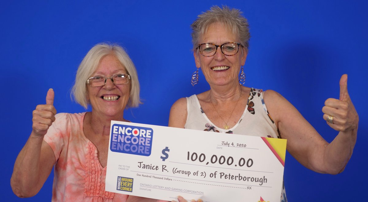 Janice Ross and Lennie Sweeting of Peterborough won $100,000 in the Lotto 6/49 Encore Draw in April.