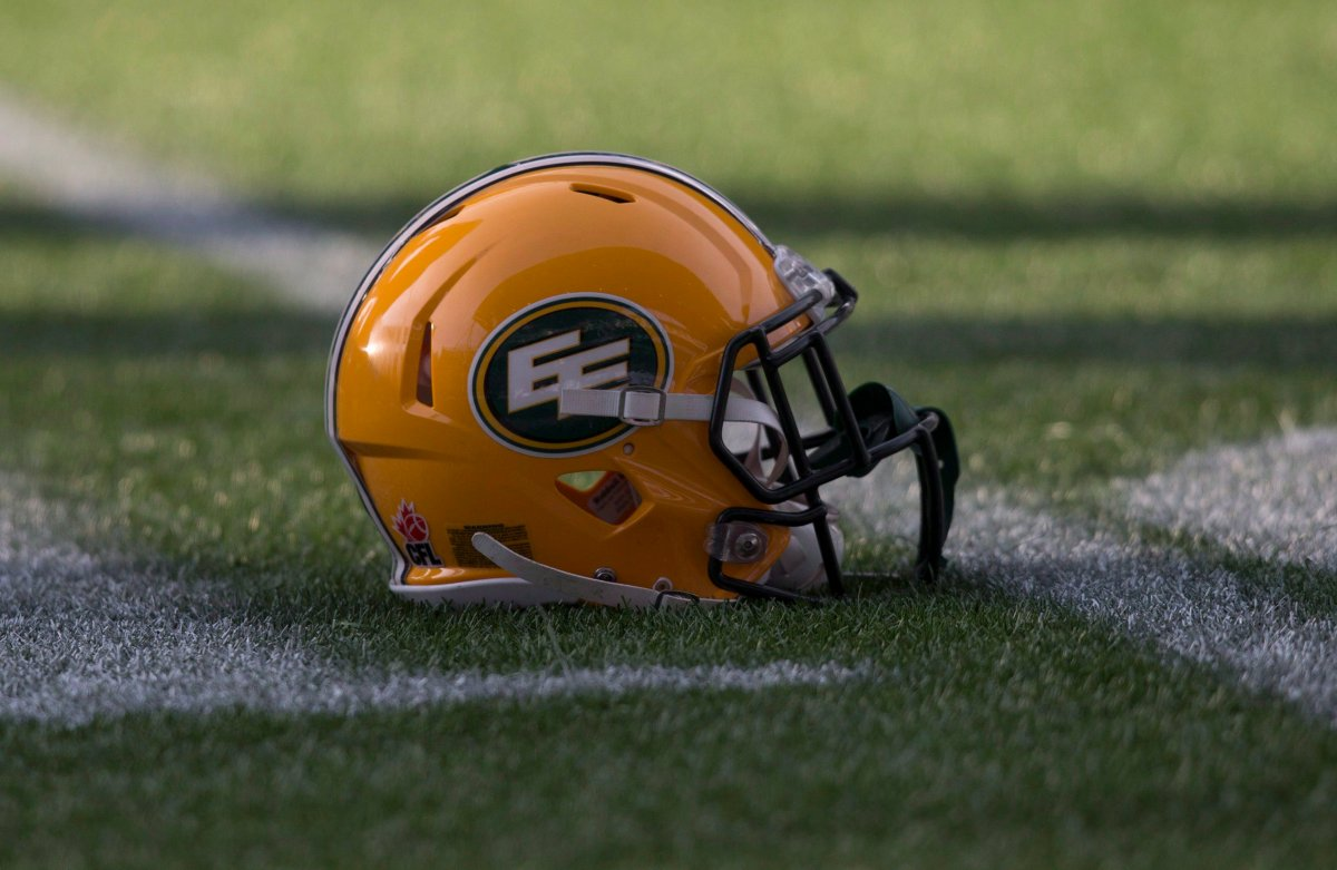 A Edmonton Eskimos helmet is seen on the field during a team practice.