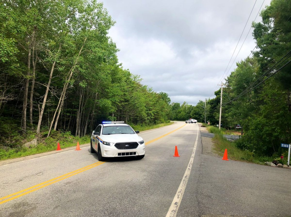 Police respond to a fatal crash in Hubley, N.S., on Tuesday, July 7, 2020.