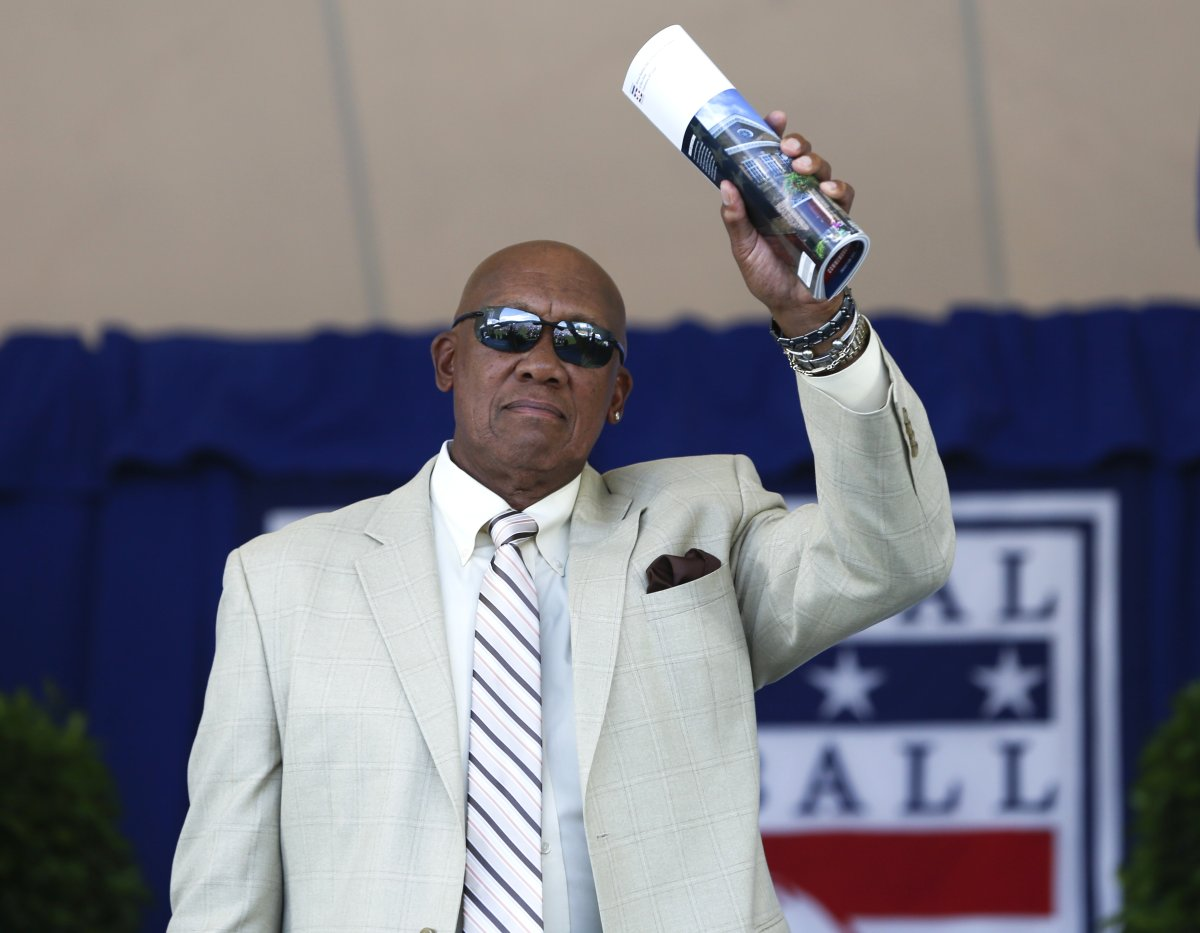 National Baseball Hall of Famer Ferguson Jenkins arrives for an induction ceremony on July 24, 2016, in Cooperstown, N.Y.