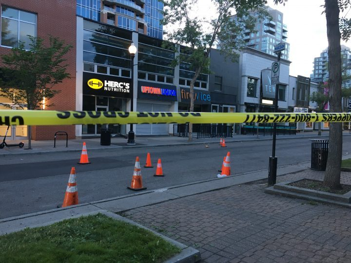Calgary Police investigate shooting on 16 Avenue S.W. on Sunday, July 12, 2020.