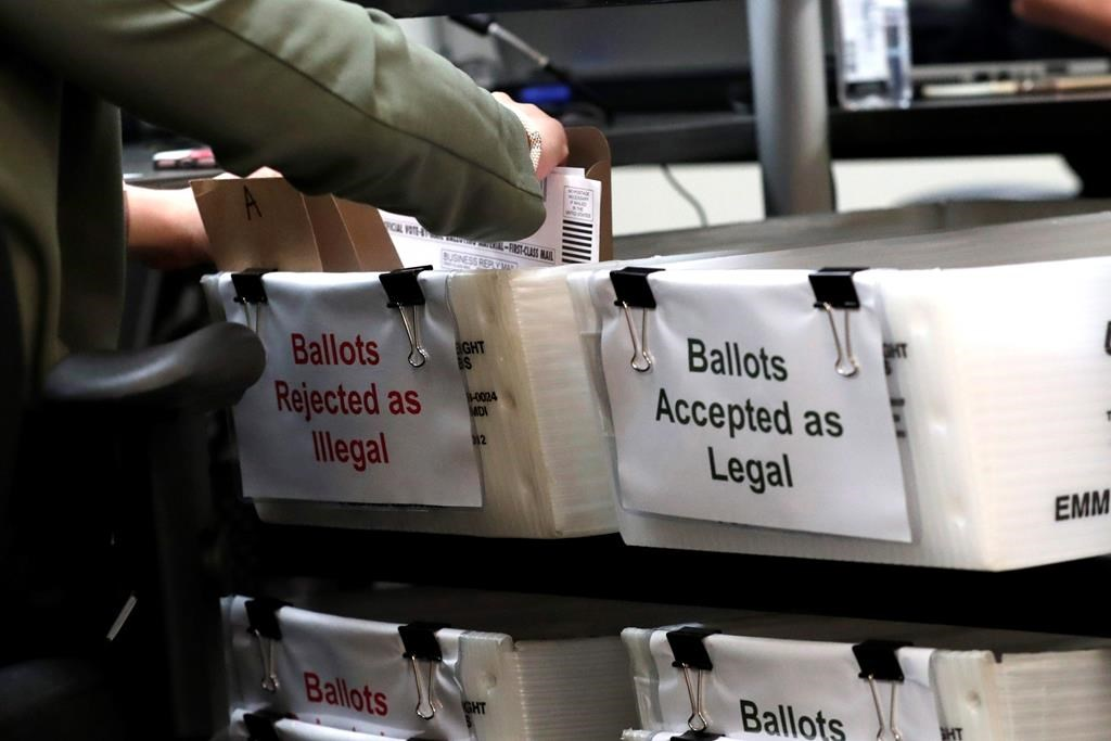 A Miami-Dade County Elections Department employee places a vote-by-mail ballot for the August 18 primary election into a box for rejected ballots as the canvassing board meets at the Miami-Dade County Elections Department, Thursday, July 30, 2020, in Doral, Fla.