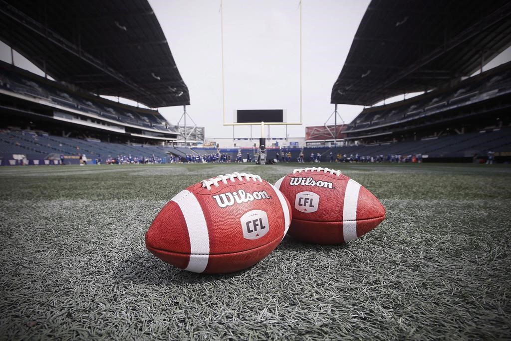 New CFL balls are photographed at the Winnipeg Blue Bombers stadium in Winnipeg Thursday, May 24, 2018.