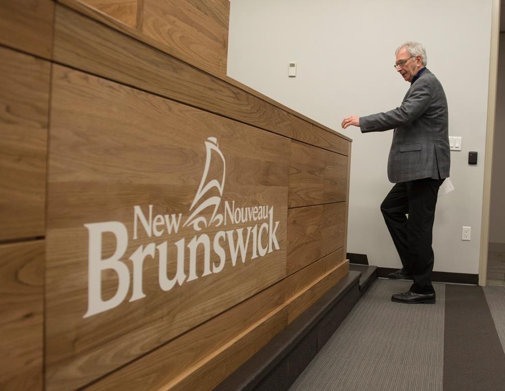 New Brunswick Premier Blaine Higgs speaks with the media in Fredericton, N.B., Monday, Feb. 17, 2020.