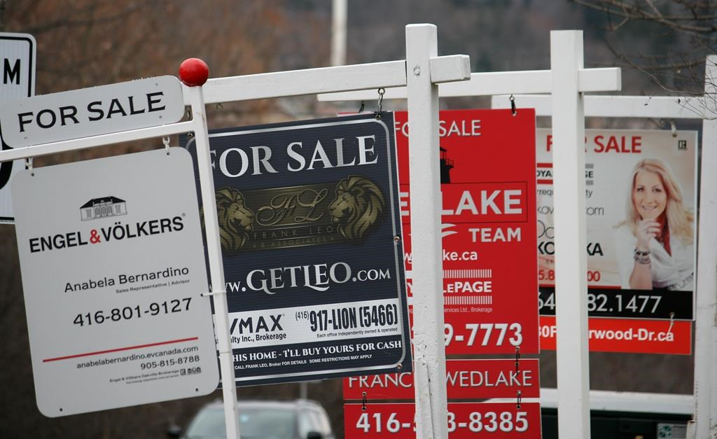 Real estate for sale signs are shown in Oakville, Ont. on December 1, 2018.