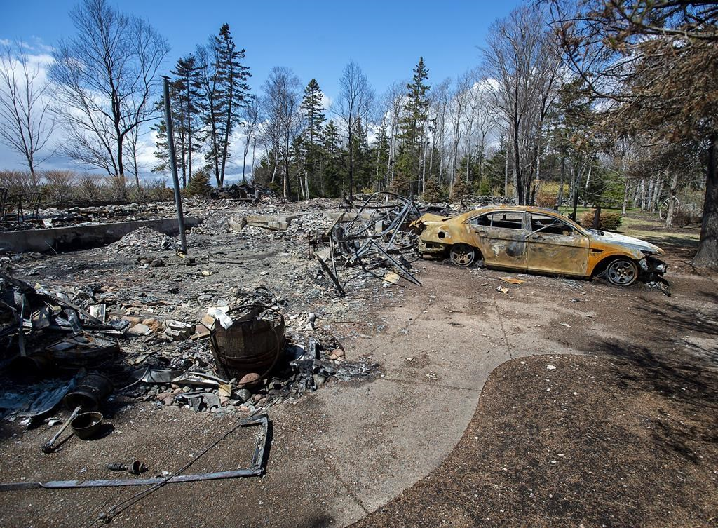 Newly released court documents say witnesses told the RCMP the man who carried out the mass shooting in Nova Scotia allegedly smuggled drugs and guns from Maine for years and had hiding spaces in several of his residences. A fire-destroyed property registered to Gabriel Wortman at 200 Portapique Beach Road is seen in Portapique, N.S., Friday, May 8, 2020.