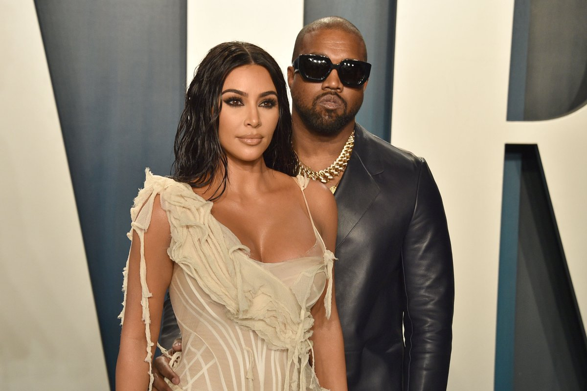 Kim Kardashian and Kanye West attend the 2020 Vanity Fair Oscar party at Wallis Annenberg Center for the Performing Arts on Feb. 9, 2020 in Beverly Hills, Calif.