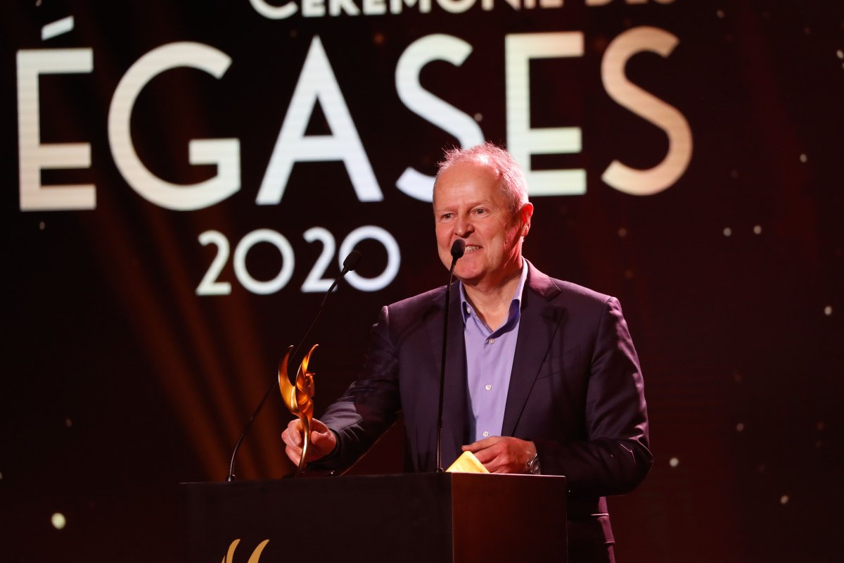 CEO of the French video game company Ubisoft, Yves Guillemot, speaks after receiving the 2019 Academy Honory award during the first Pegases award ceremony on March 9, 2020 at the Theatre de la Madeleine in Paris.