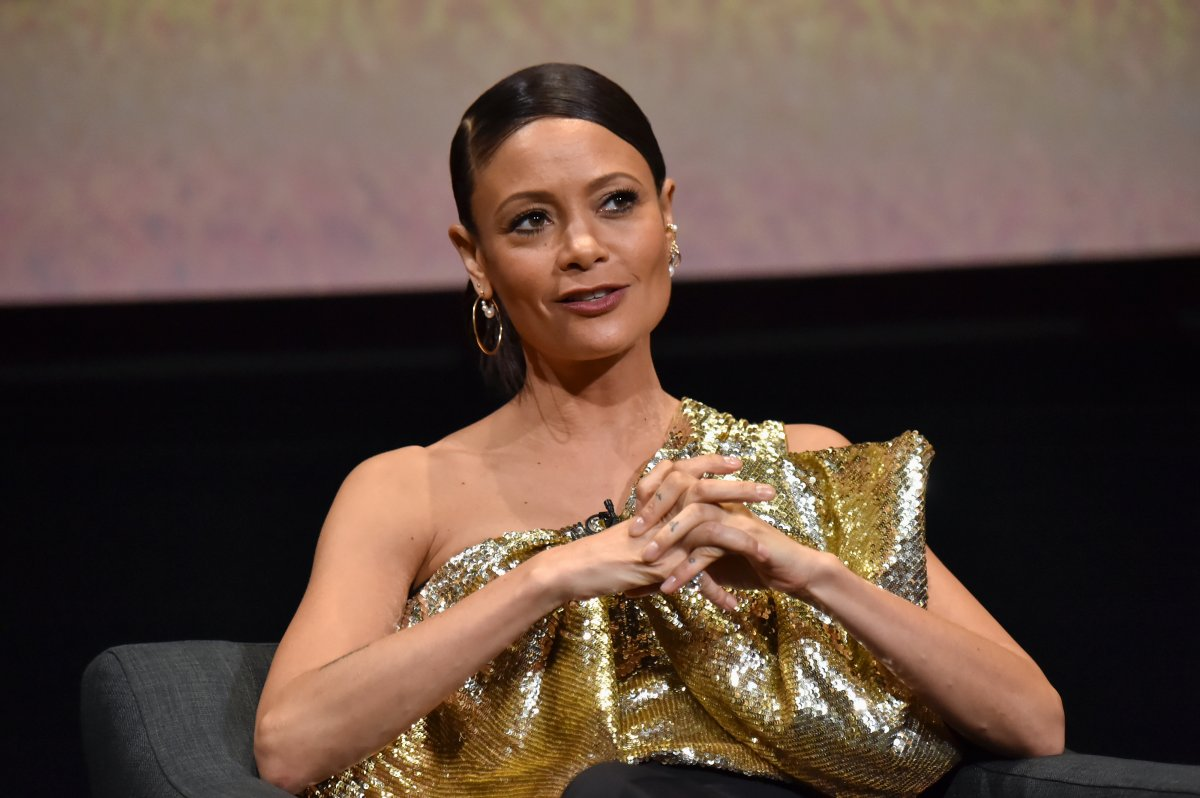 Thandie Newton speaks on stage during the screening and panel discussion of the HBO drama series 'Westworld' at Wolf Theatre on March 6, 2020 in North Hollywood, Calif.
