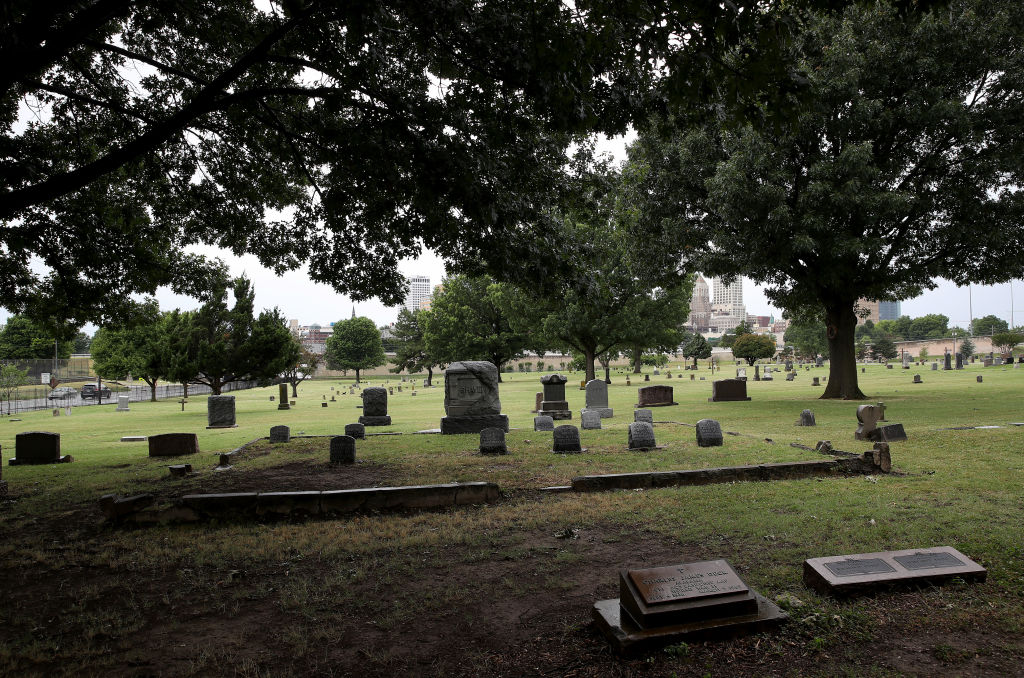 The Oaklawn Cemetery is seen on June 19, 2020 in Tulsa, Okla.