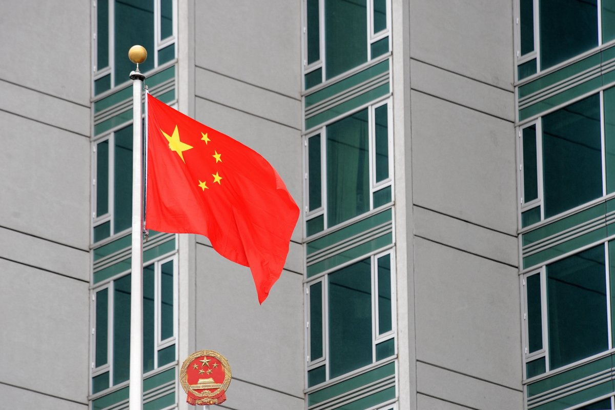 The Chinese flag flies outside the consulate on June 4, 2009 in New York. AFP PHOTO/Stan Honda.