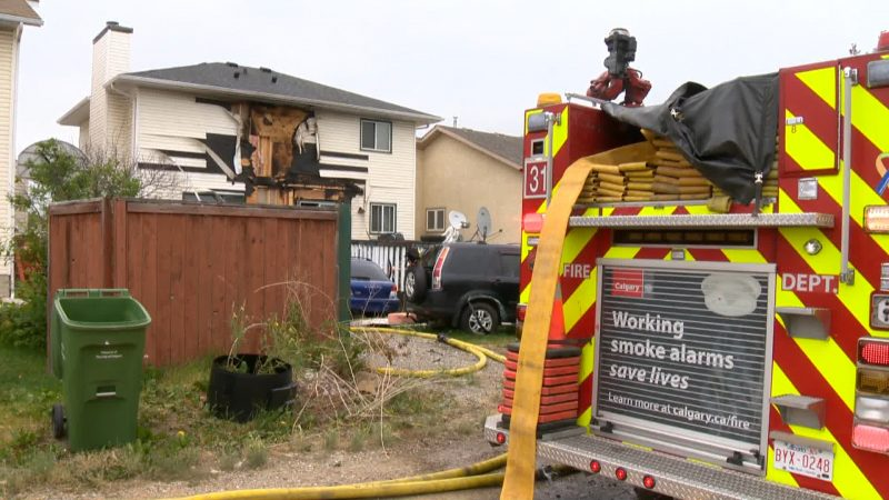 Calgary firefighters were called to a home on Harvest Oak Crescent Northeast on Thursday, July, 23, 2020 for reports of smoke and flames coming from the back deck.