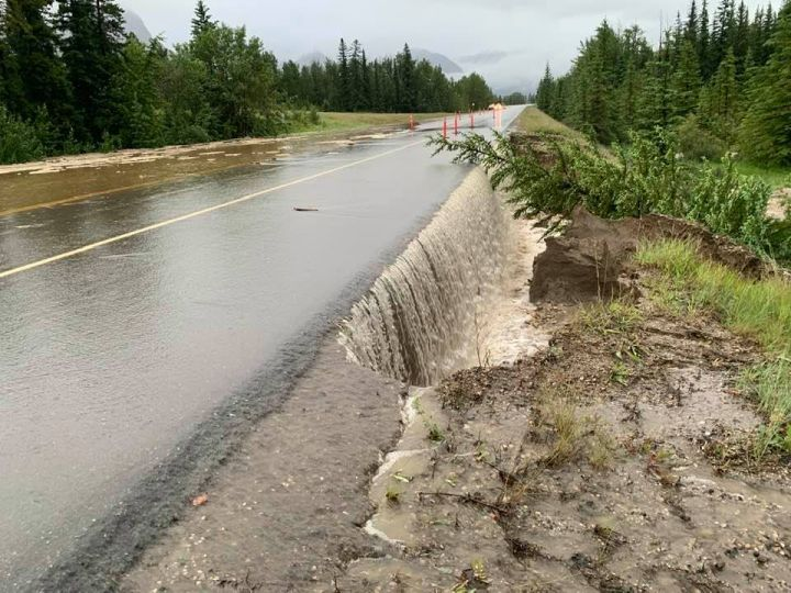 Significant rainfall this week has resulted in flooding on Highway 16 just east of Jasper, Alta.