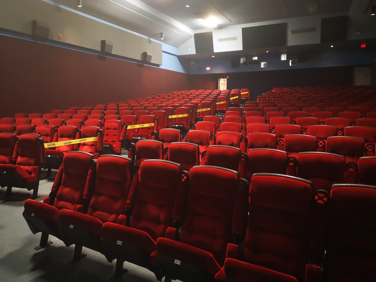 Every other row at the Ciné Starz theatre in the St. Laurent Shopping Centre is taped off in anticipation of audiences returning under Stage 3 of Ontario's reopening from the novel coronavirus pandemic.