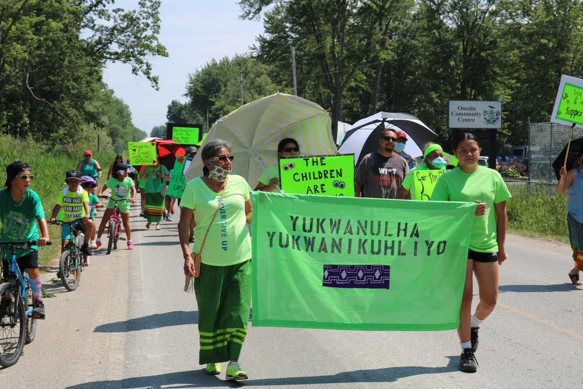 Women from Oneida Nation of the Thames marched through Oneida on Friday to bring awareness to what the women are calling a growing drug problem. July, 10 2020