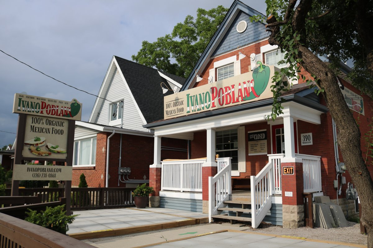 Ivanopoblano and organic Mexican food restaurant on Wharncliffe Rd S in London On. July 16, 2020