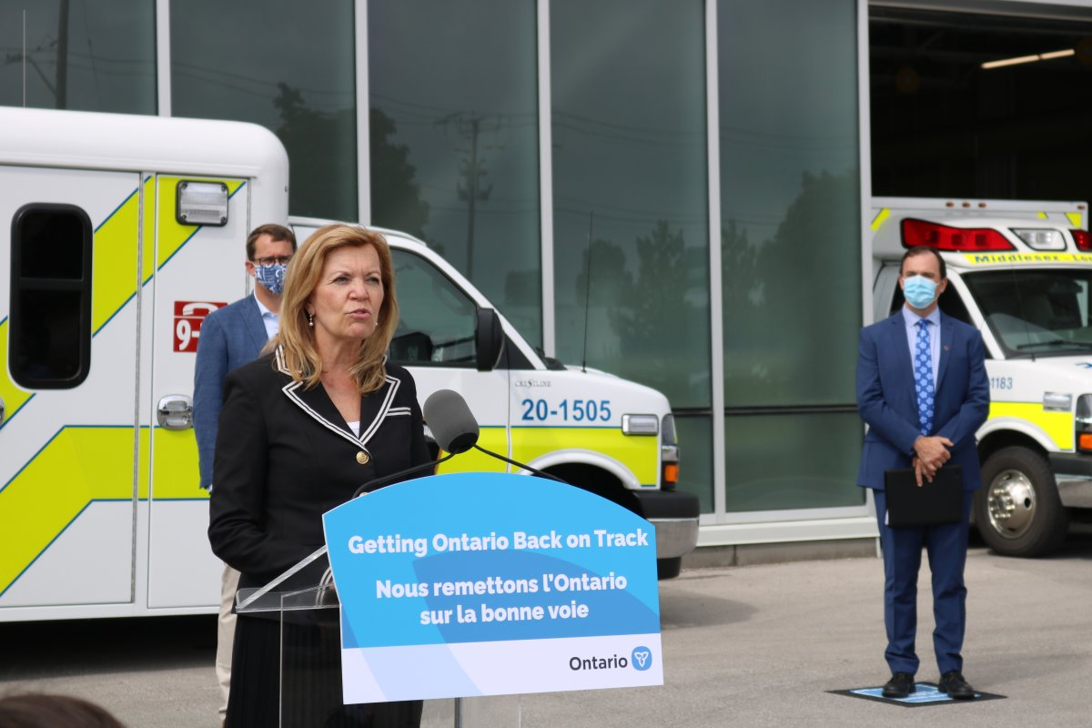 Christine Elliott, the province's minister of health, making an announcement at the Middlesex London Paramedic Services Headquarters Thursday morning.