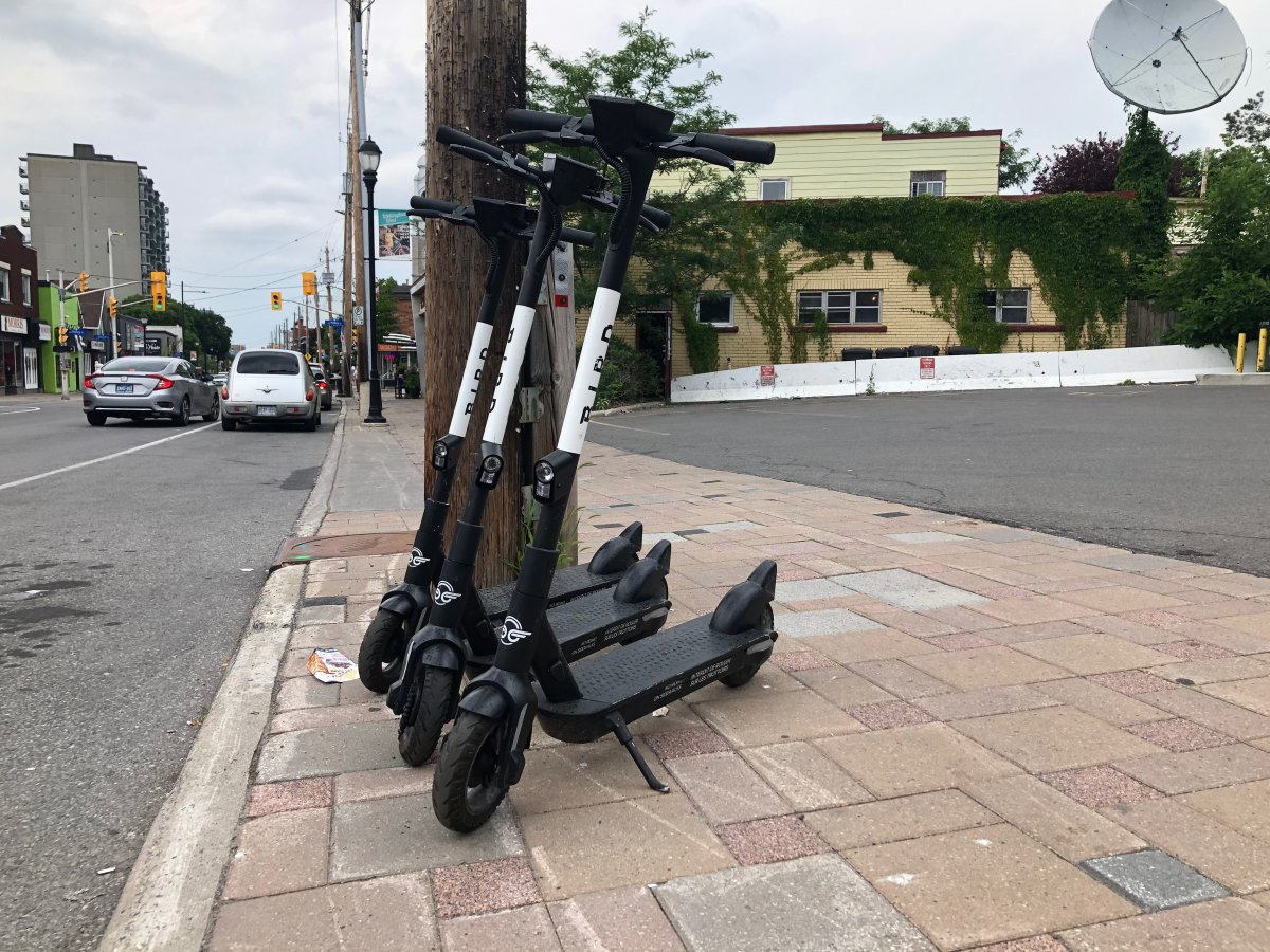 A set of Bird Canada e-scooters are ready for rental in Ottawa's Hintonburg neighbourhood on Thurs., July 16, 2020.