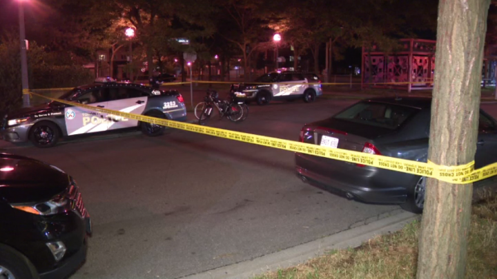 Police at the scene of a shooting in the area of Islington Avenue and Lake Shore Boulevard.