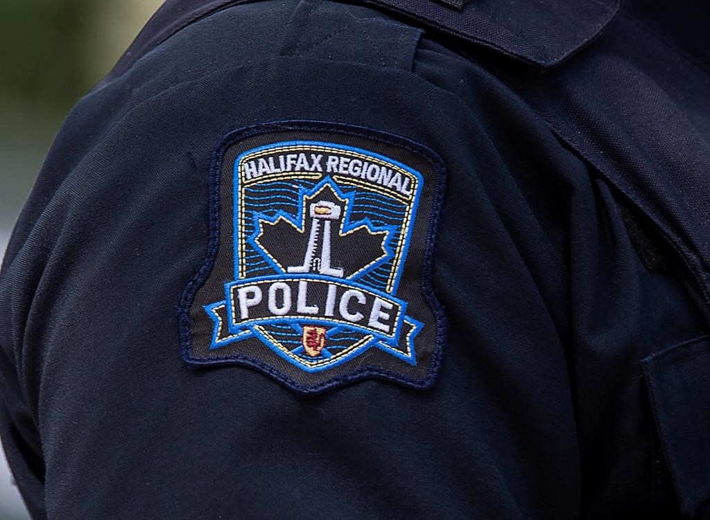A Halifax Regional Police emblem is seen on a police officer in Halifax on July 2, 2020.