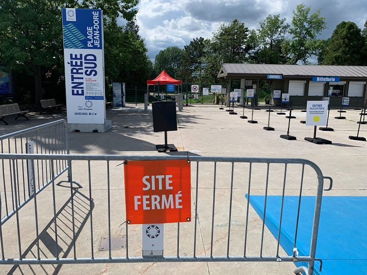 Quebec's environment ministry said poor water quality is behind the closure of Jean-Doré Beach in Montreal. Friday, July 31, 2020.