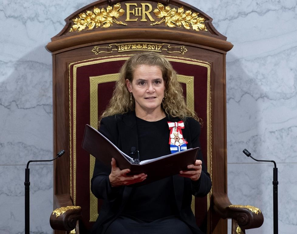 Governor General Julie Payette delivers the Throne Speech in the Senate chamber, Thursday, December 5, 2019 in Ottawa.